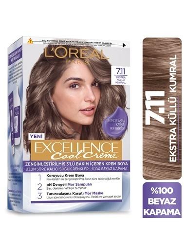 L'Oréal Paris Excellence Cool Creme 7.11 Numara Ekstra Küllü Kumral Saç Boyası 3'lü Set Renksiz